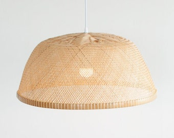 Free Shipping, Large Bamboo Bowl Pendant Light, Woven Bamboo Kitchen Pendant Lamp, Oversized Hanging Lamp Chandelier, Ceiling Lamp / PL11