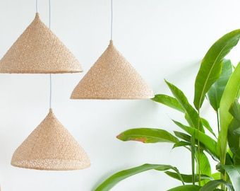Free Shipping, Bamboo Hat Pendant Light, Woven Bamboo Pendant Lamp, Natural Hanging Lamp, Tropical Boho Chandelier, Asian Ceiling Lamp /PL09