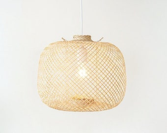 Flexible Bamboo Pendant Light, Fish Trap Lamp, Asian Woven Bamboo Hanging Lamp, Boho Bamboo Basket Lampshade, Japanese Pendant Light / PL05