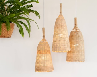 Woven Bamboo Pendant Light, Rustic Bamboo Pendant Lamp, Fish Trap Hanging Lamp, Boho Bamboo Chandelier, Ceiling Lamp / PL06 Large