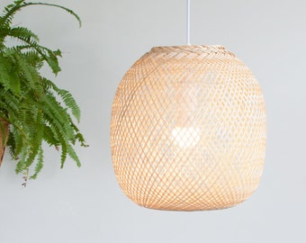 Bamboo Pendant Light, Round Woven Bamboo Hanging Lamp, Re-purposed Spherical Fish Trap Ceiling Lamp, Ball Shape Pendant Lamp, Boho / PL07