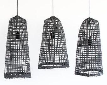 Black Bamboo Pendant Light, Natural Ceiling Lamp, Traditional Asian Fishtrap Basket Woven Bamboo Hanging Lamp, Bohemian Decor Lantern / PL16