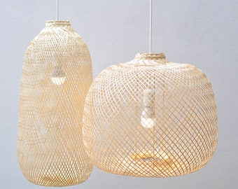 Bamboo Pendant Light, Re-purposed Fish Trap Ceiling Lamp, Oblong/Round Woven Bamboo Hanging Lamp, Bohemian Décor / PL05