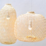 Bamboo Pendant Light, Repurposed Fish Trap Ceiling Lamp, Asian Oblong and Round Woven Bamboo Hanging Lamp, Boho Chinese Lantern / PL05