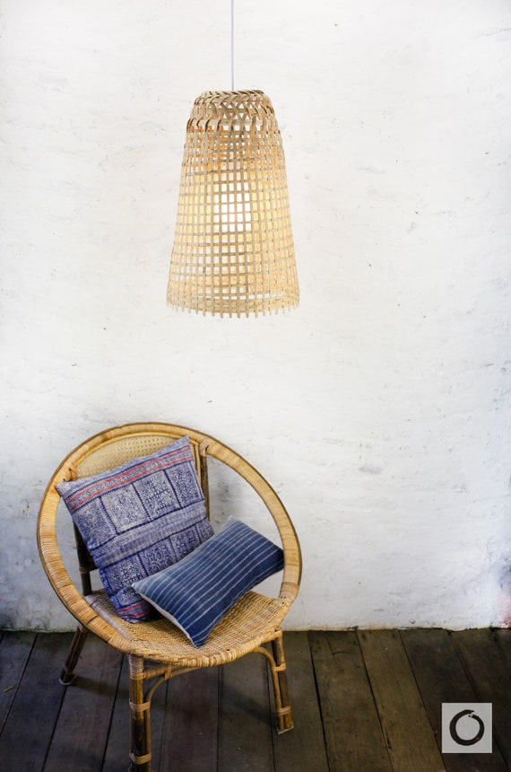 Bambus Pendelleuchte Umfunktioniert Reuse Decke Lampe Lange Etsy