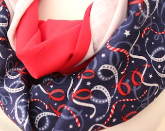 American Flag Scarf, Infinity Scarf, Flag Scarf, America Scarf, Red White Blue Scarf, Patriotic Scarf, Holiday Scarves, USA Citizen Scarves