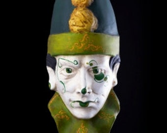 Venetian Mask | Green Clown