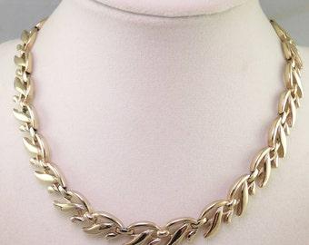 Signed Monet Gold Tone Vine Necklace 1955-60s