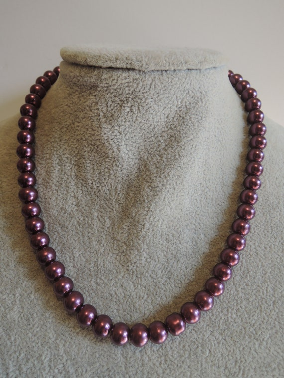 c1980s Pink Glass Bead Necklace