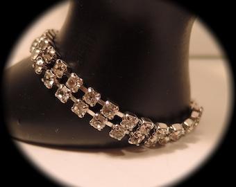 Clear Rhinestone Double Strand Bracelet 1960-70s