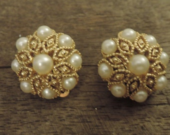 Gold Tone and Faux Pearl Clip Earrings c1960s