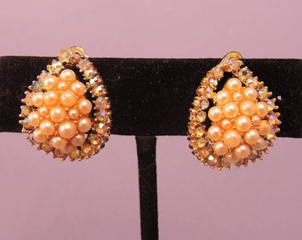 Signed Kramer Faux Pearl and Aurora Borealis Clip Earrings 1950-60s