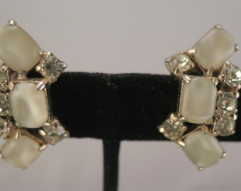 Cream Moonglow Lucite and Yellow Rhinestone Clip Earrings 1950s