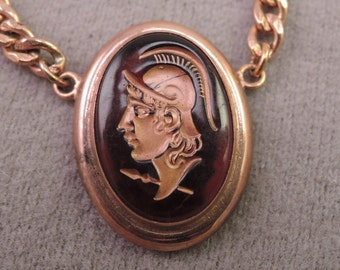 Signed Swank Tie Clasp with Roman Soldier Cameo 1960s