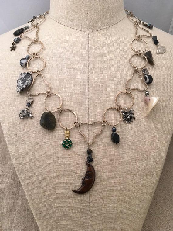 Necklace Dark Moon Carved Bone Crescent Moon Etsy