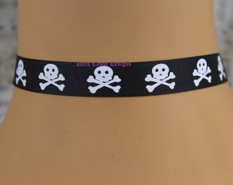 15mm Wide Black Choker Necklace with Skull and Crossbones Print Pirate Rockabilly Retro Skull Gothic Punk