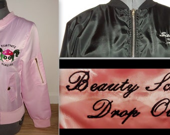 cb23ac8fcfa custom monogramming embroidery embroidered names for pink ladies or T bird  jacket look purchases-one or two lines up to 9 letters each.