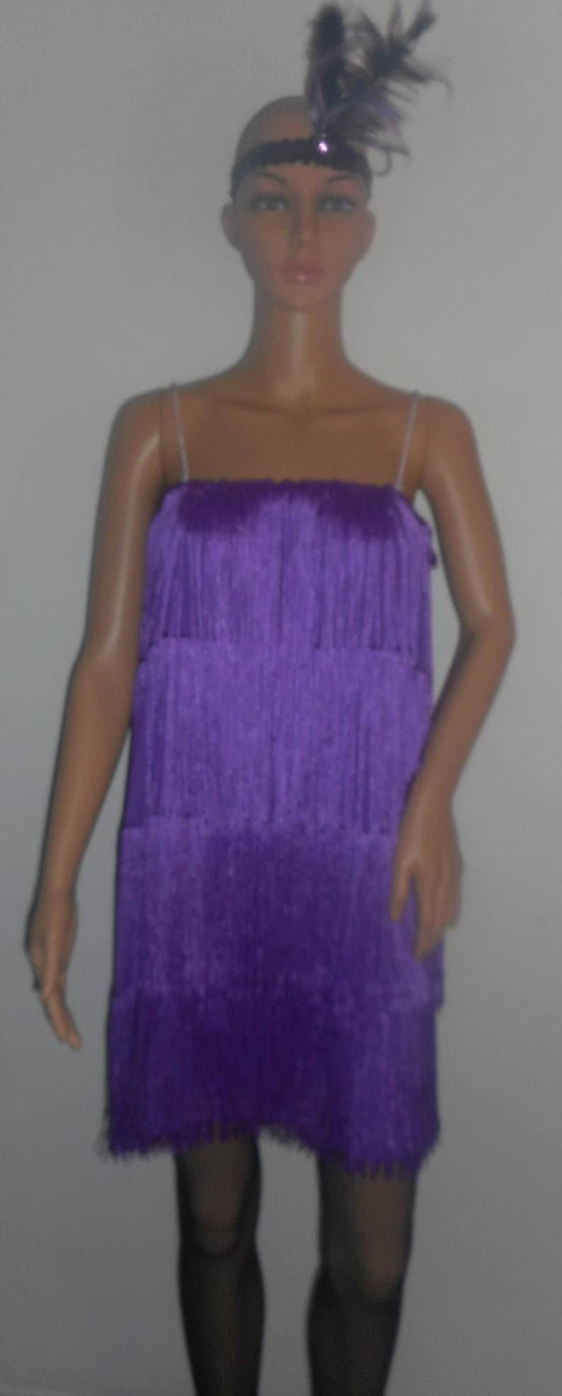 adult plus size 1x and 2x size 20 stretch fabric purple1920/'s theme party event fringed flapper costume dress costumes