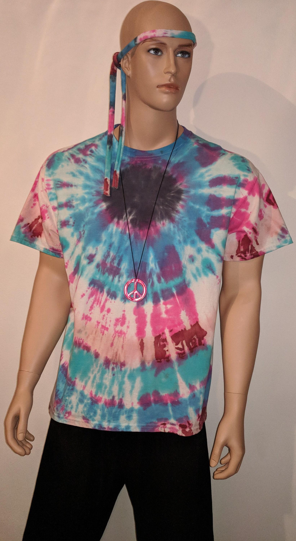 1970s Men's Shirt Styles – Vintage 70s Shirts for Guys Adult Mens 1970s Boho Theme Party Event 100 Cotton 3 Piece Hippie Blue Tie Dye T-Shirt Sign Necklace Head Band Costume $12.28 AT vintagedancer.com