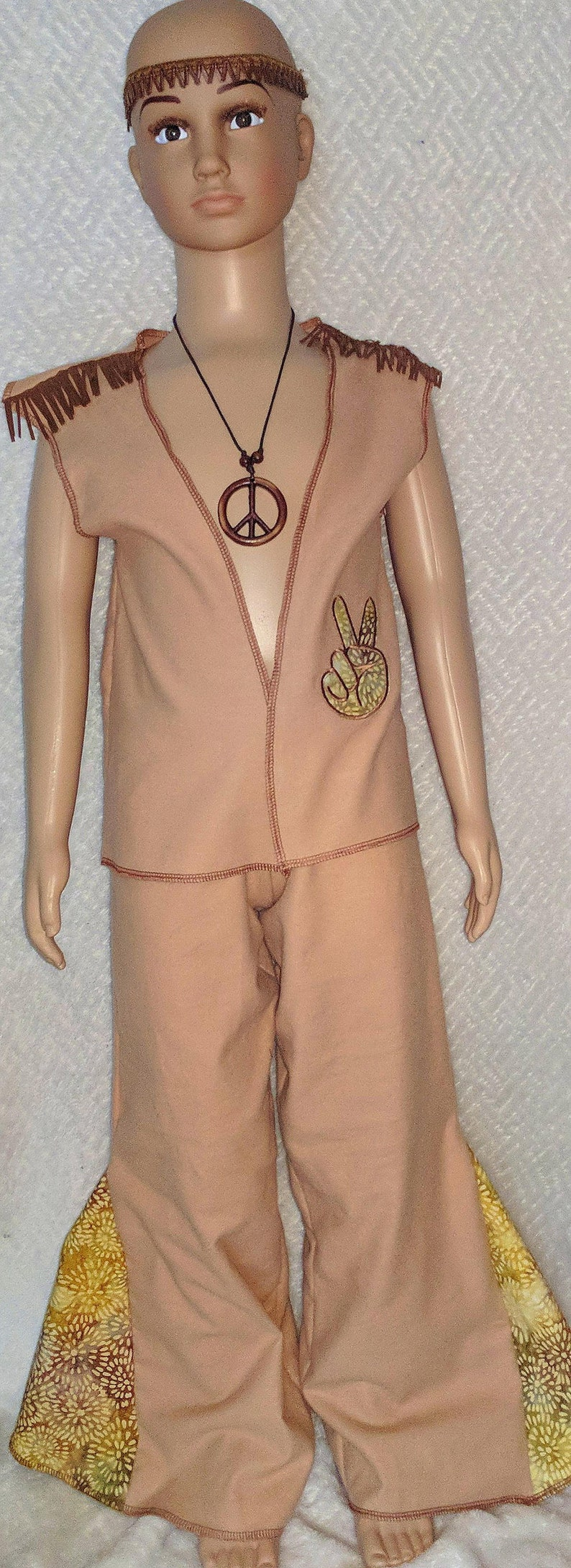 boys size medium child childrens 8-10 years 4 four piece full size 1970s theme party event boho hippie costume costumes