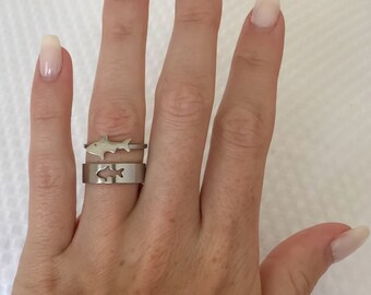05b065a6f Shark Ring Ocean Shark Jewelry Shark Lovers Gift Simple Delicate Rings for  Lover Gift