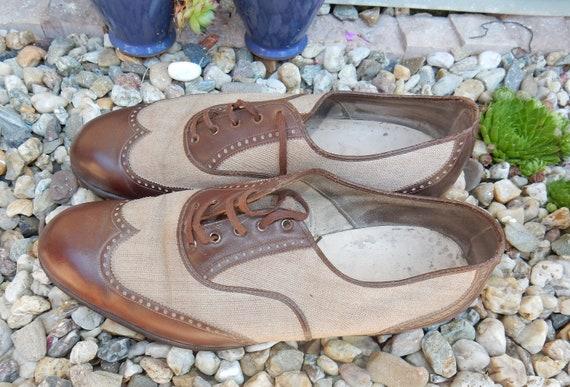 Vintage shoes men  handmade 1930s leather