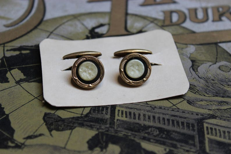 Vintage cufflink gold plated brass pearl lucite art deco new old stock NOS