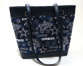 Dallas Cowboys Handmade Quilted Fabric Work Computer Bag, Tote, or Purse made from Dallas Cowboy Fabric and Faux Leather the Camela Bag