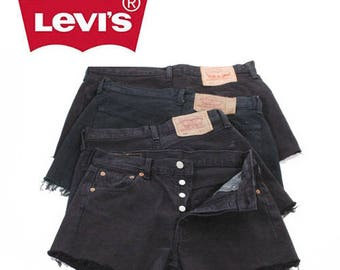 Vintage Levis 501 Black High Waisted Denim Shorts W24 W31- www.brickvintage.com