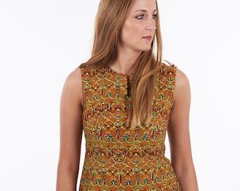 Vintage 1960's Handmade Tribal Pattern Shift Dress 8  - www.brickvintage.com