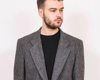 Vintage Reworked Herringbone Harris Tweed Jacket L - www.brickvintage.com