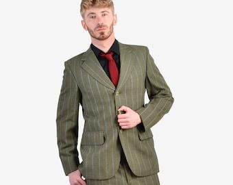Vintage 1970's Burton Green Striped Suit   Size 38 S- www.brickvintage.com