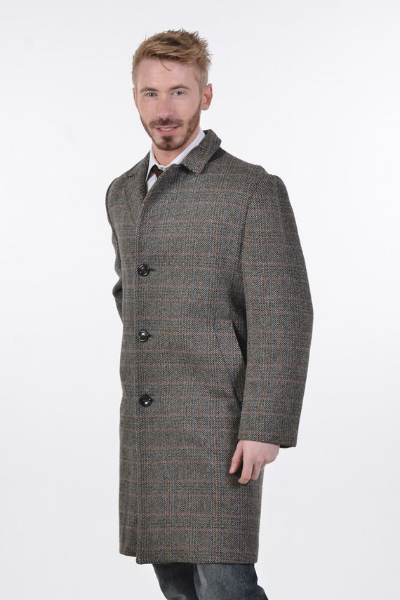 Vintage 1970's Dhobi Grey Check Tweed Wool Coat L