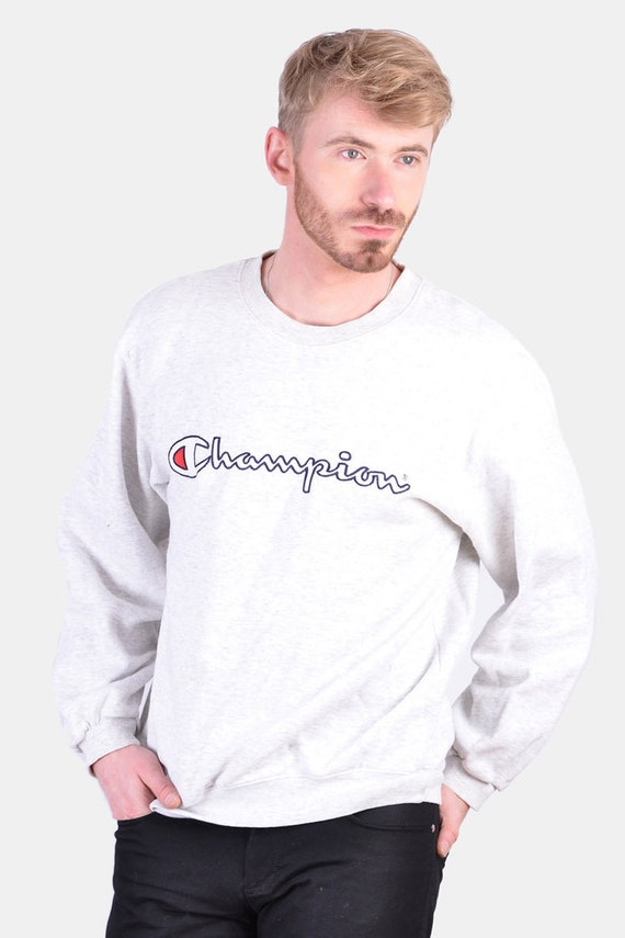 Vintage Champion Light Grey Sweatshirt | Size M -