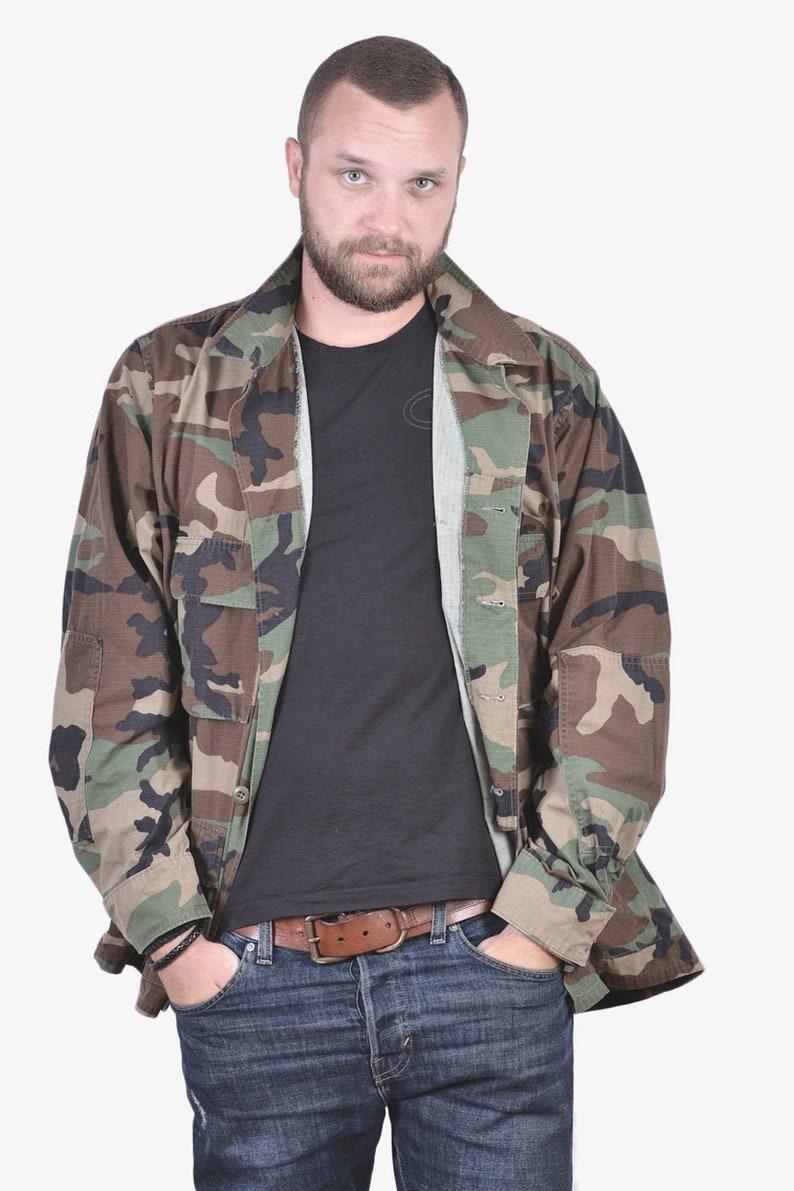 www.brickvintage.com Vintage US Army Woodland BDU Shirt XL