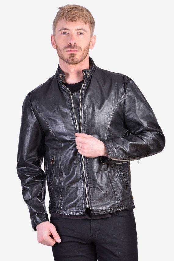 Vintage 1970's Motorcycle Leather Jacket | Size M