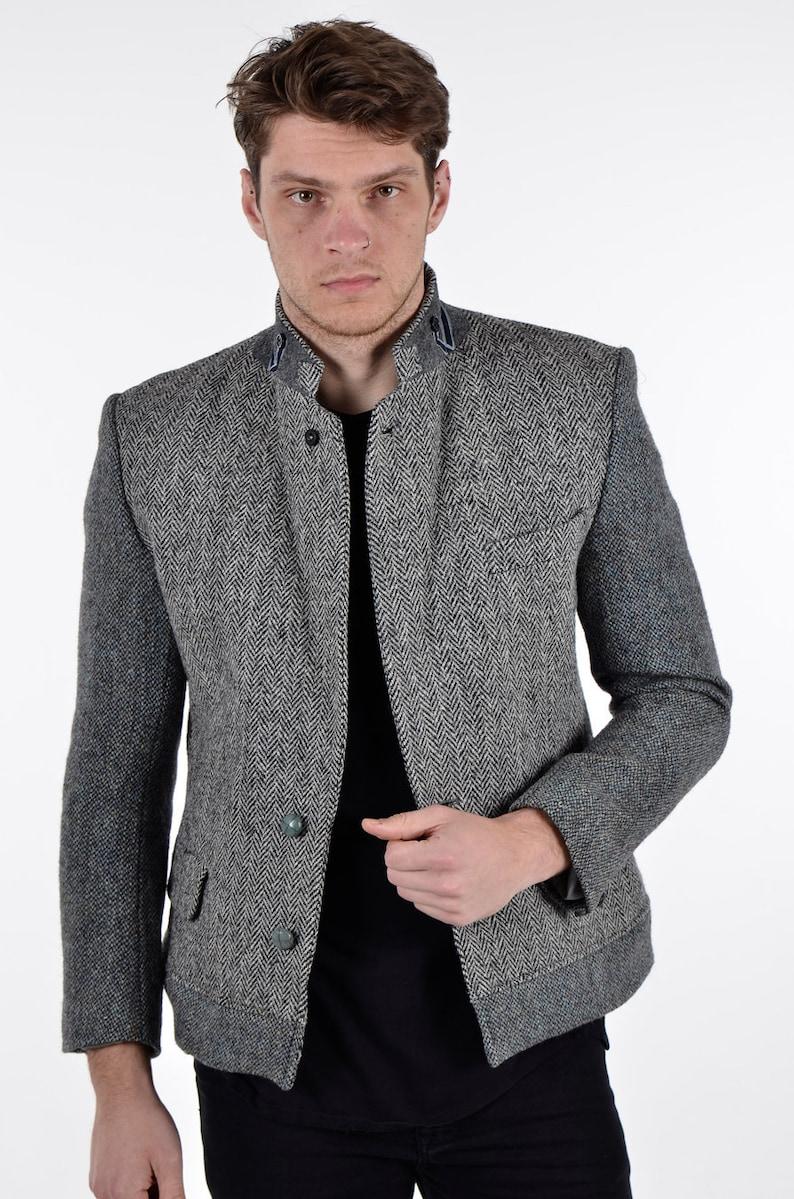 74e969259 Reworked Grey Harris Tweed Herringbone Jacket S - www.brickvintage.com