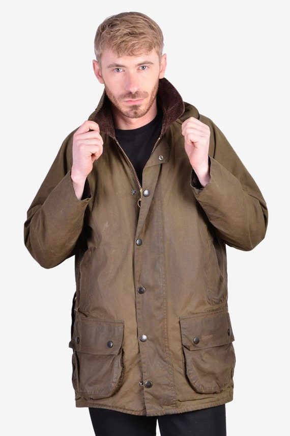 Vintage Barbour Beaufort Green Wax Jacket | Size M