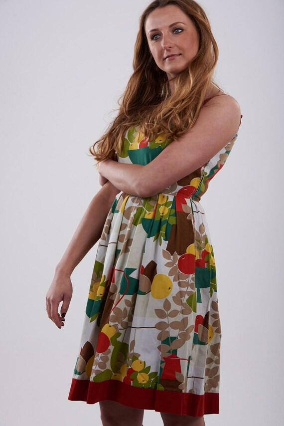 Vintage 1950's Betty Barclay Fruit Pattern Dress 1