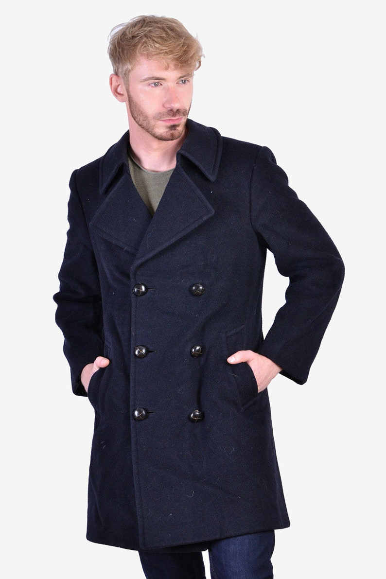 Vintage 1960/'s Aquascutum Midnight Blue Coat S www.brickvintage.com