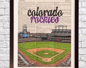 Colorado Rockies Dictionary Art Print - Coors Field Art - Denver Colorado Print - Print on Vintage Dictionary Paper - Baseball Art