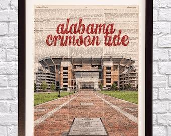 Alabama Crimson Tide Dictionary Art Print - Bryant Denny Stadium, Bama Football - Dictionary Paper - University of Alabama, Graduation