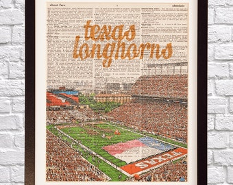Texas Longhorns Dictionary Art Print - Darrell K Royal Stadium Art - University of Texas Print - Vintage Dictionary Paper - Austin Football