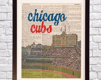 Chicago Cubs Dictionary Art Print - Wrigley Field - Print on Vintage Dictionary Paper - Baseball Art - Gift For Him - Chicago Print