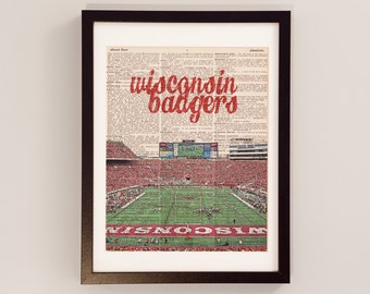 Wisconsin Badgers Dictionary Art Print - Camp Randall Stadium - Print on Vintage Dictionary Paper - Football Art, Madison, Wisconsin, Gift