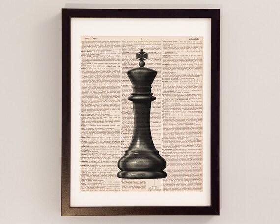 King Chess Piece Art Print Chess Art Print on Vintage   Etsy