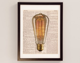 Vintage Light Bulb Print - Electrical Art - Print on Vintage Dictionary Paper - Electric Light Bulb, Filament, Vintage Theme