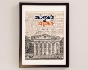 UVA Rotunda Dictionary Art Print - University of Virginia - Print on Dictionary Paper - Charlottesville, VA, UVA Cavaliers, Graduation Gift