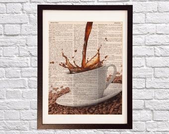 Coffee Mug Dictionary Art Print - Kitchen Art, Splashing Coffee - Print on Vintage Dictionary Paper - Good Morning, Coffee Beans, Art Print