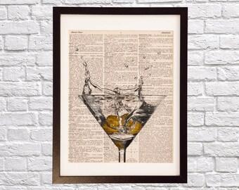 Vintage Martini Dictionary Print - Cocktail Art - Print on Vintage Dictionary Paper - Vodka Martini, Vermouth, Olives - Cocktail Splash